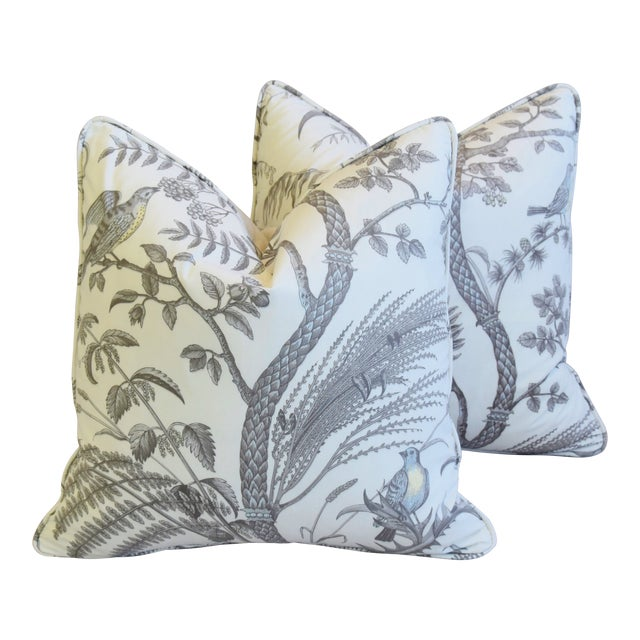 """Brunschwig & Fils Bird and Thistle Feather/Down Pillows 21"""" Square - Pair For Sale"""