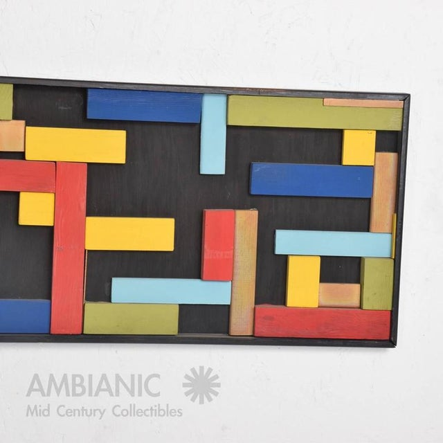 Abstract Mid-Century Wood Block Abstract Art For Sale - Image 3 of 10