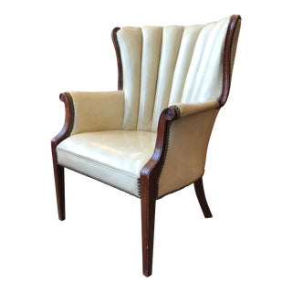 Vintage Naugahyde Wingback Chair in Ivory