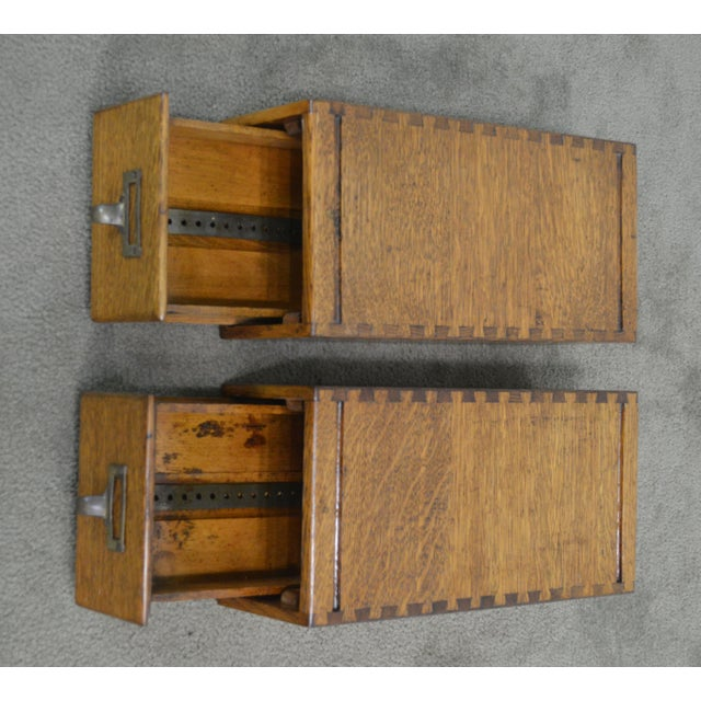 Antique Oak Pair of Desktop Library Card File Cabinets For Sale - Image 11 of 12