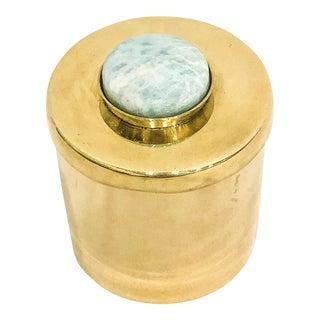 Lane Round Amazonite & Brass Box
