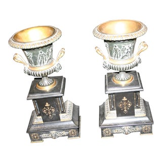1870 Traditional Bronze & Mable Mantle Urns - a Pair For Sale
