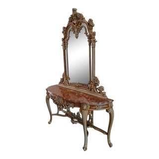 20th Century Italian Rococo Giltwood Rouge Marble Top Entry Console Table & Mirror For Sale