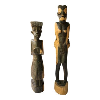 1960s Artifact Sculpture Tanganyika Hand-Carved Figures S/2 For Sale