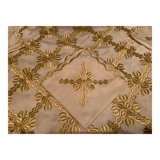 Golden Embroidered Table Cover For Sale