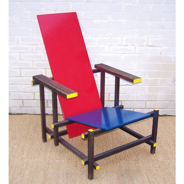 Gerrit Rietveld Style Red & Blue Chair - Image 2 of 11