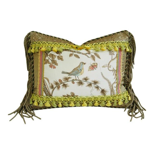 Designer Brunschwig & Fils Bird & Thistle Pillow - Image 1 of 6