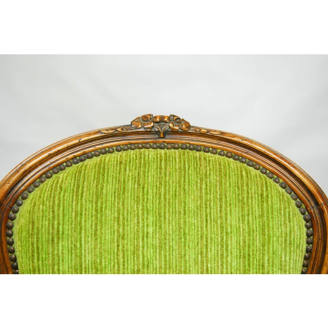 Louis XV Carved Chartreuse Velvet Bergeres - Pair - Image 4 of 8