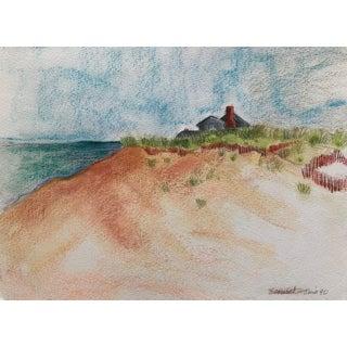 "1990 ""Sconset Dunes, Nantucket"" Original Signed Pastel Drawing For Sale"