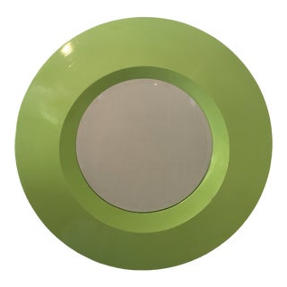Vintage Round Lime Green Wall Mirror For Sale