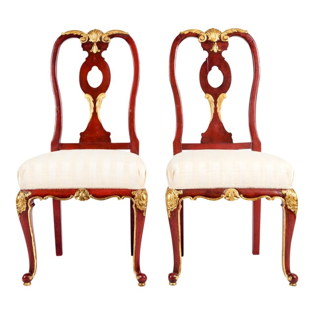 Vintage Wood Framed With Gilt Detail Side Chairs - a Pair For Sale
