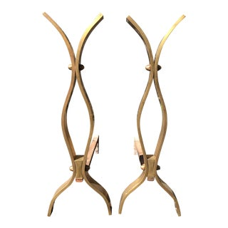 1950s Mid-Century Modern Tall Machined Bronze Andirons - a Pair For Sale