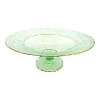 Cambridge Style Uranium Depression Green Glass Etched Bowl With Gold Trim For Sale