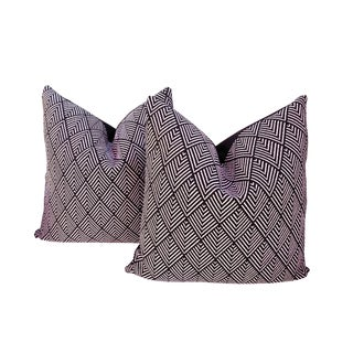 Black and White Diamond Weave Pillows - a Pair For Sale