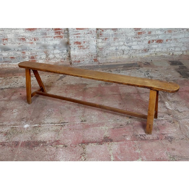 19th Century Antique Walnut Farm Bench For Sale - Image 11 of 11