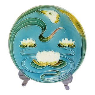 Art Nouveau Water Lilly Plate, Saben 1920s For Sale