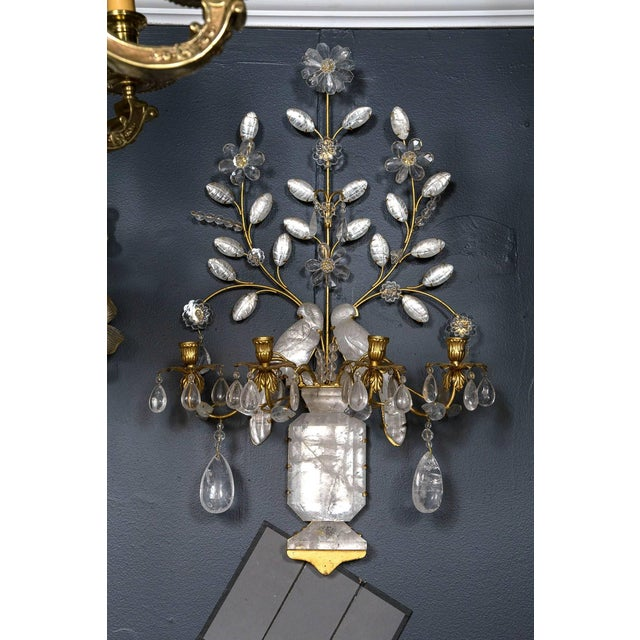 Baguès Four-Light Bird Rock Crystal Wall Sconce For Sale In New York - Image 6 of 6