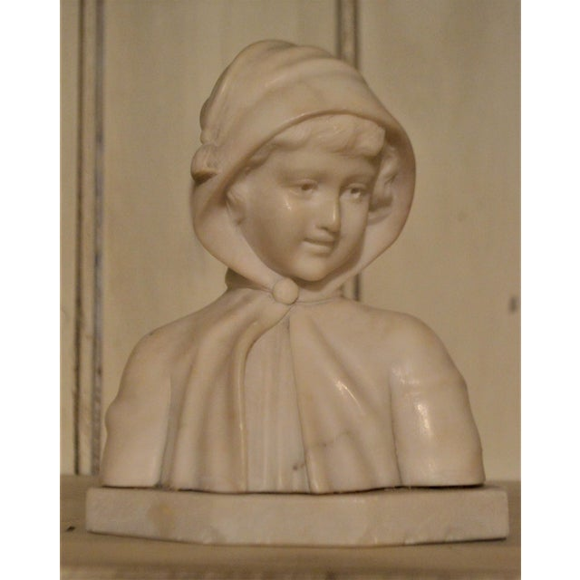 Cream 19th Century Small Marble Bust of Young Girl For Sale - Image 8 of 8