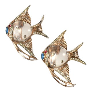 Coro 1940s Angel Fish Jelly Belly Pin Clips Brooch Pair Vintage For Sale