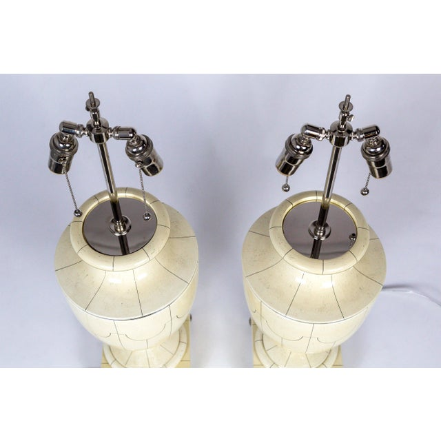 Vintage Silver Trimmed Ivory Ceramic Urn Lamps by Jean Roger - a Pair For Sale In San Francisco - Image 6 of 10