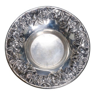 Antique S. Kirk & Sons Sterling Silver Floral Reposse Bowl, circa 1890 For Sale