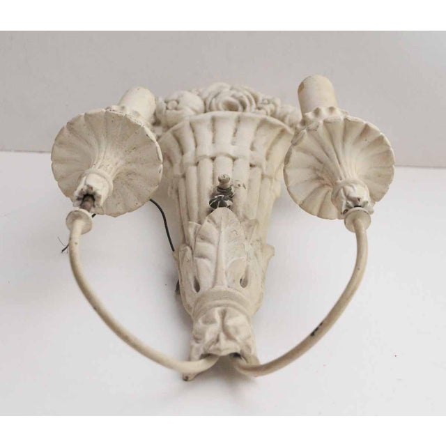 Italian White Wood Sconces With Cornucopia Motif - A Pair For Sale - Image 3 of 11