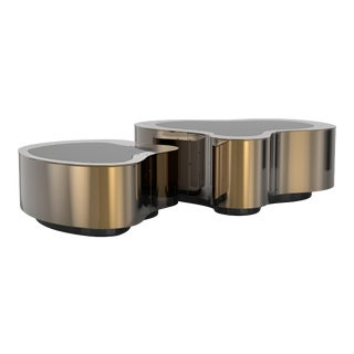 Covet Paris Wave Polished Patina Coffee Table For Sale