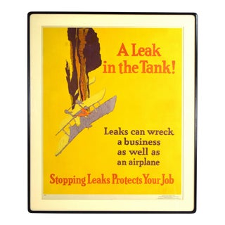 """1929 """"a Leak in the Tank!"""" Crashing Airplane Lithograph Poster by Willard Elmes For Sale"""