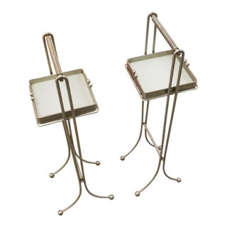 Art Deco Square Glass Ashtrays on Metal Stands - A Pair For Sale