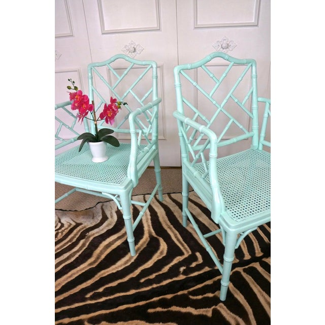 Pale Turquoise Faux Bamboo Chinese Chippendale Chairs- A Pair For Sale - Image 4 of 10