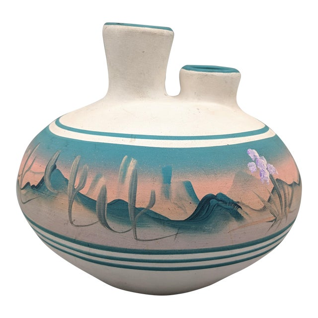 1969 Native American New West Hand Painted Pink and Blue Pottery Vase For Sale