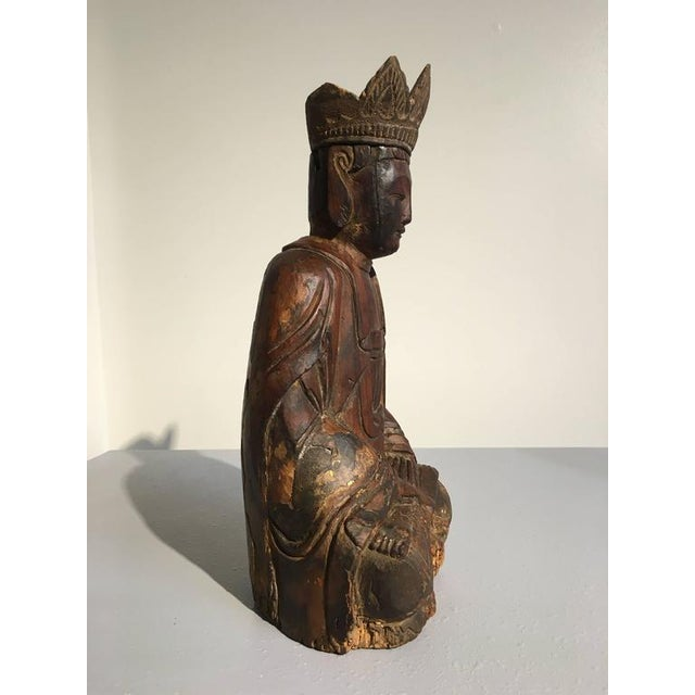 Asian Chinese Ming Dynasty Carved Wooden Bodhisattva For Sale - Image 3 of 10