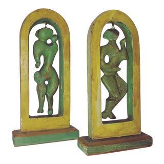 Robert Lohman Abstract Wood Figural Sculptures 1950's - a Pair For Sale