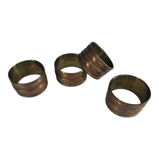 Brass & Copper Napkin Rings - 4 - Pieces For Sale