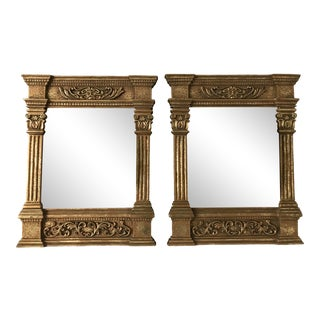 1980s Vintage Greek Theater Column Gold Mirrors - a Pair For Sale