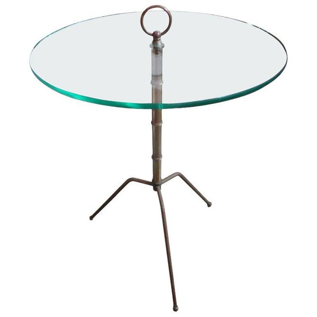 Brass Italian Gio Ponti Inspired Brass and Glass Tripod Table For Sale - Image 8 of 9