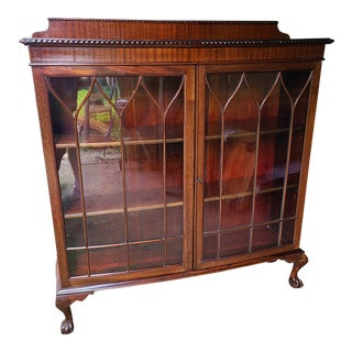 Antique Mahogany Curio/Display Cabinet For Sale