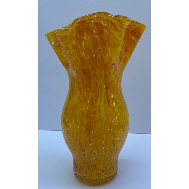 Vintage Murano Mottled Spatter Yellow Orange Glass Vase For Sale In New York - Image 6 of 7