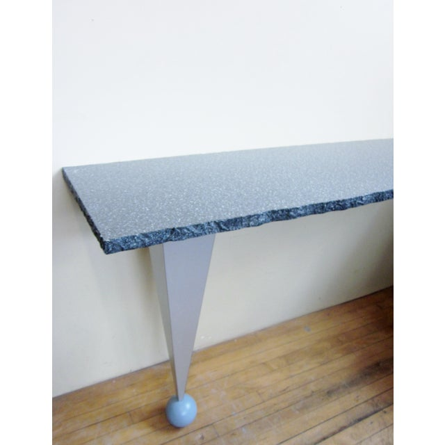 Dark Gray Vintage Postmodern Custom Made Memphis Design One-Legged Console Table For Sale - Image 8 of 13