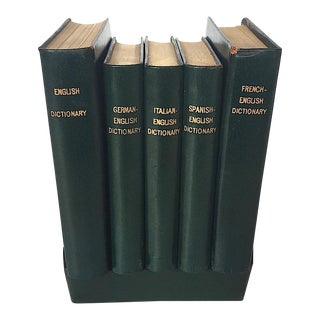 Vintage Leather Dictionaries - Set of 5