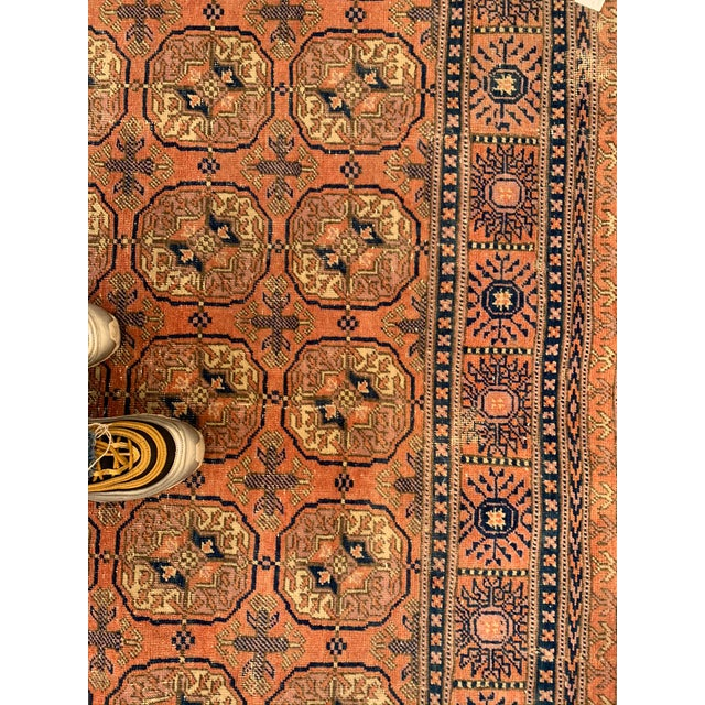 Mid 20th Century Vintage Salmon & Navy Persian Runner-3′3″ × 9′4″ For Sale In Los Angeles - Image 6 of 8
