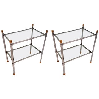 Pair of Mid-Century Two-Tiered Accent Tables Attributed to Romeo Rega For Sale