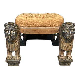 Figural Stylized Lion Bench For Sale