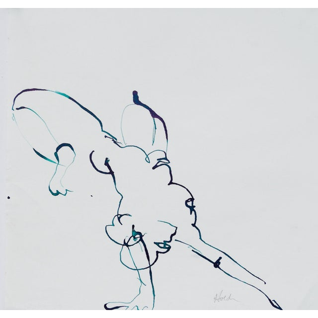 Martha Holden Blue Ink Drawing - Image 1 of 2
