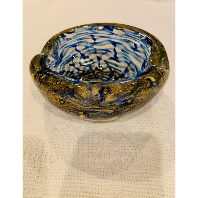 Blue Mid-Century Modern Blue and Gold Swirl Ashtray Bowl For Sale - Image 8 of 8
