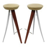 Image of Italian Modernist Wood & Metal Bar Stools - a Pair For Sale