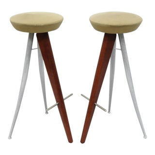 Italian Modernist Wood & Metal Bar Stools - a Pair For Sale