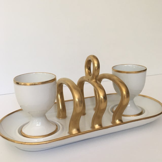 Ceramic Vintage Gold & White China Toast Rack & Egg Cups - Set of 3 For Sale - Image 7 of 8