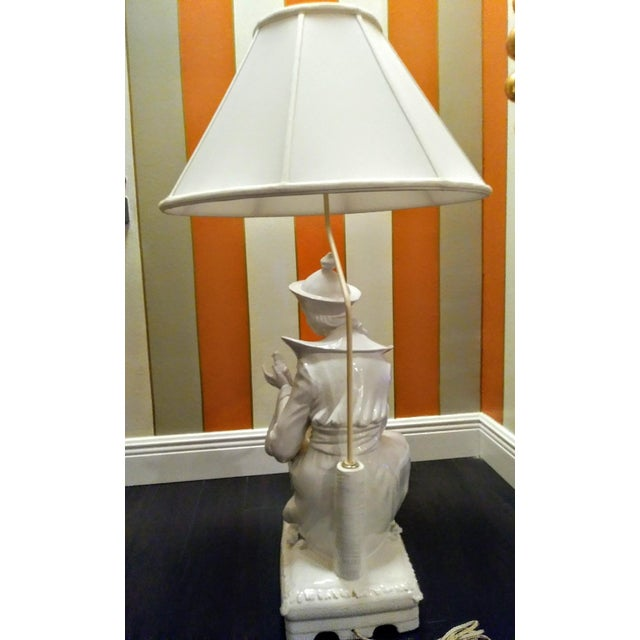 Rare Vintage Monumental Italian Ceramic St Francis of Assisi White Massive Table Lamp For Sale In West Palm - Image 6 of 10