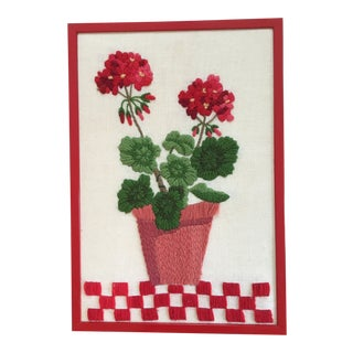 "1960's Framed ""Potted Red Geranium Plant"" Crewelwork Embroidery on Linen For Sale"